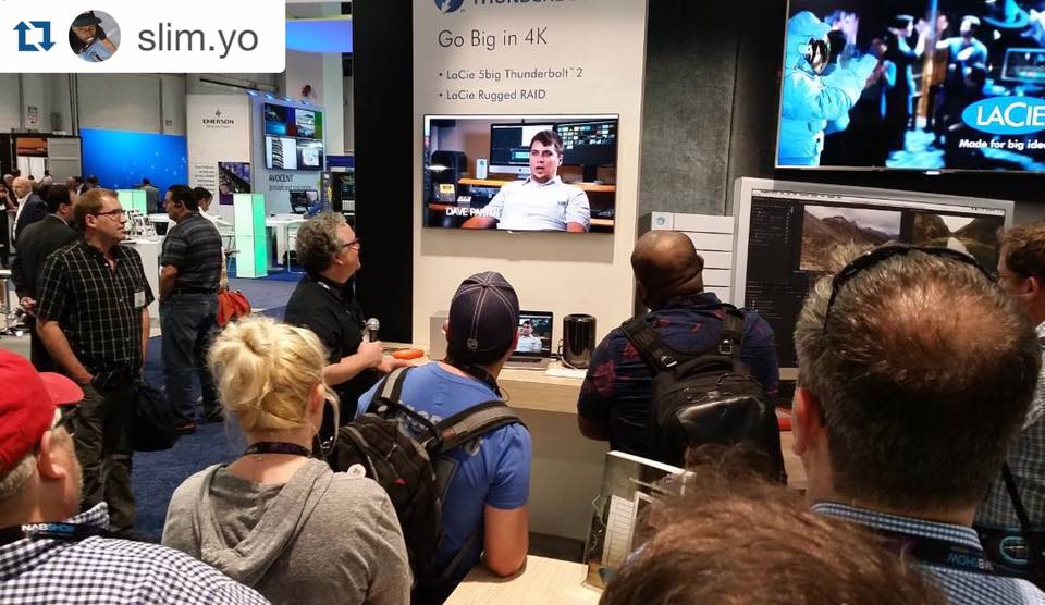 Brooks Moore giving a session at the LaCie booth at NAB