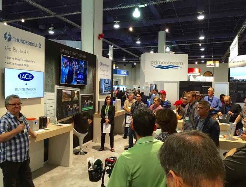 Brooks Moore at the LaCie Tech booth at NAB Show 2016 giving a session