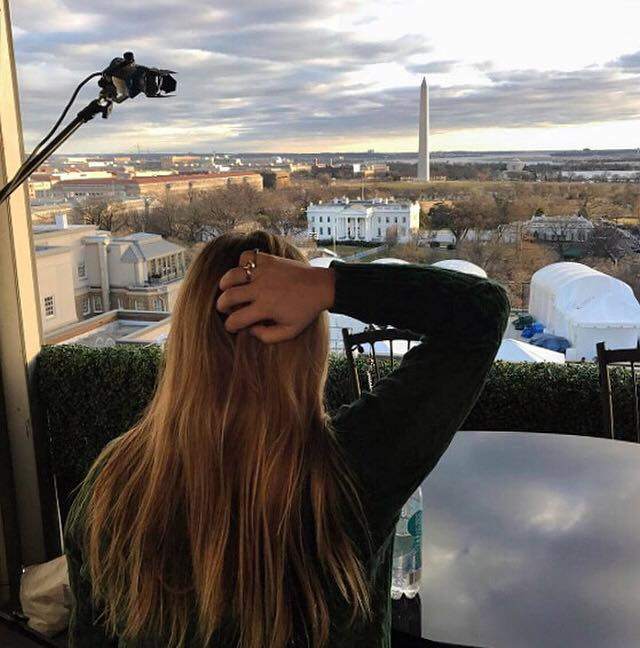 Photo of Ali Rickards looking from set at the white house