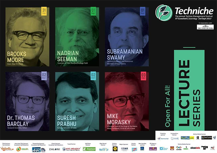 Lineup of 2017 speakers at Techniche IIT Guwahati
