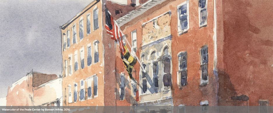 Watercolor of The Peale Center in Baltimore City