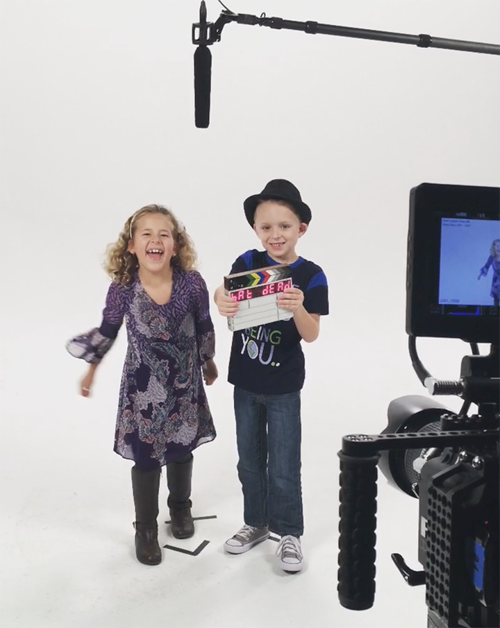 Screenshot from on set with March of Dimes ambassadors, Maddi and Colin