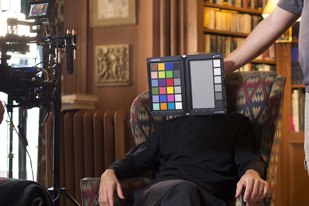 Photo on set for capturing Datacolor color chart and calibration tool prior to filming